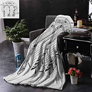 DONEECKL Throw Blanket Virgo Black and White Symbol Zodiac Sign Astrologic Celestial Alignments Predicting Future All Season for Couch or Bed W60 x L40 Black White