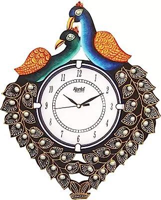 Ajanta Analog 30 cm X 30 cm Wall Clock (Dark Green, Orange, Blue, with Glass)