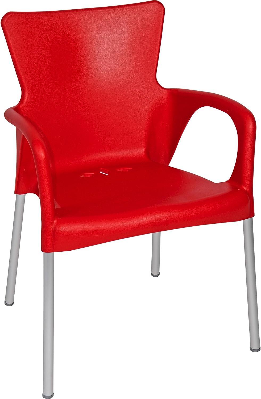 Stuhl Stapelstuhl Gartenstuhl 4er Set rot Kunststoff stapelbar 85 cm