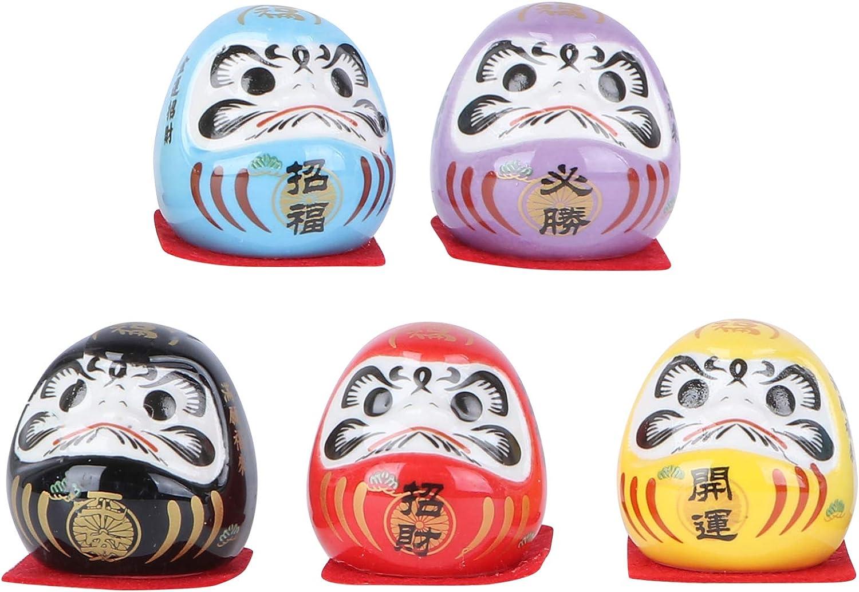 PRETYZOOM 5 Piezas de Porcelana Mini Daruma Japonés Ochoko Daruma Cerámica Daruma Fortune Dolls Miniatura Daruma Muñeca para La Mesa del Hogar Escritorio Decoración Interior del Coche