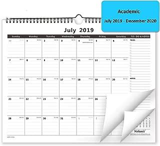 Nekmit 2019-2020 Monthly Wall Calendar, Wirebound, Ruled Blocks,15 x 12 Inches,Black