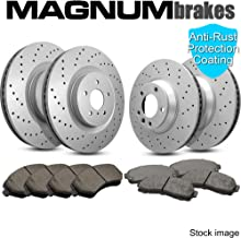 Front and Rear Magnum Performance Cross Drilled Brake Rotors & Ceramic Brake Pads for 2006 Subaru Legacy GT & GT Spec B