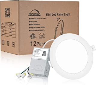 "LEDIMWO 12 Pack No-Flicker Dimmable 6""LED Downlight, Recessed Ceiling Light, Led Panel Light with Junction Box, 4000K Cool White, 12W=120W, 1000lm, IC Rated ETL & Energy Star"