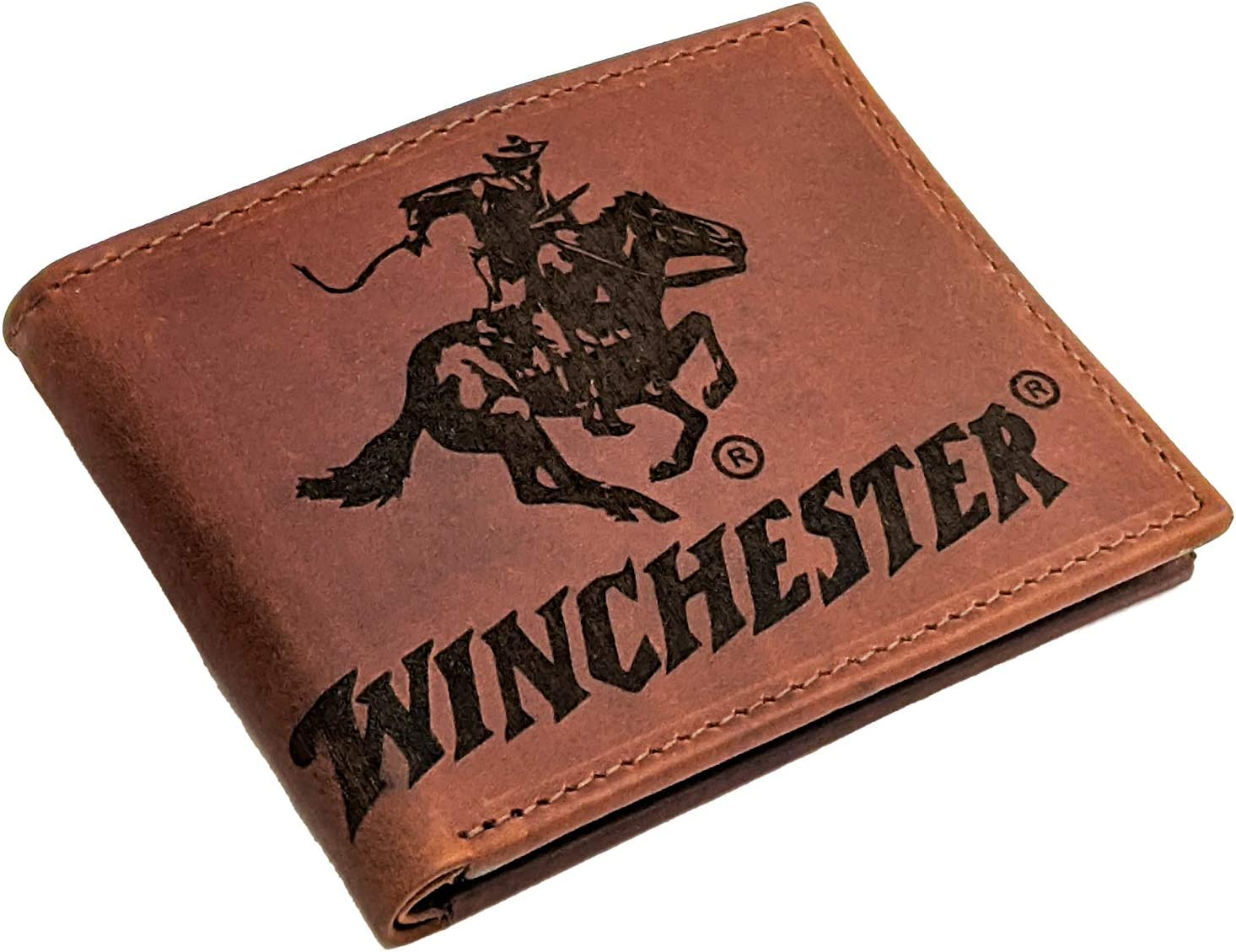 Winchester Slim Bifold Leather Wallet For Men With RFID Blocking|ID Window|Genuine Leather Thin Men's Travel Wallet|Card Holder|Multiple Card Slots|Brown| Cowboy| Big Dallas