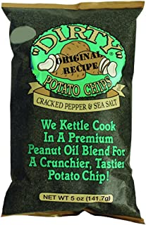 Dirty Potato Chips Kettle Chips Bag, Cracked Pepper and Sea Salt, 5 oz., 12 Piece