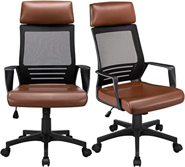 YAHEETECH 2Pcs High Back Mesh Office Chairs with Leather Padded Seat, Ergonomic Adjustable Desk Chair Swivel Chair Computer C