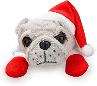 Plushland Christmas Themed Plush Stuffed Bulldog Toy Puppy 8 Inches with Red Santa Hat and Gloves, for Kids, Boys and Girls (Gray)