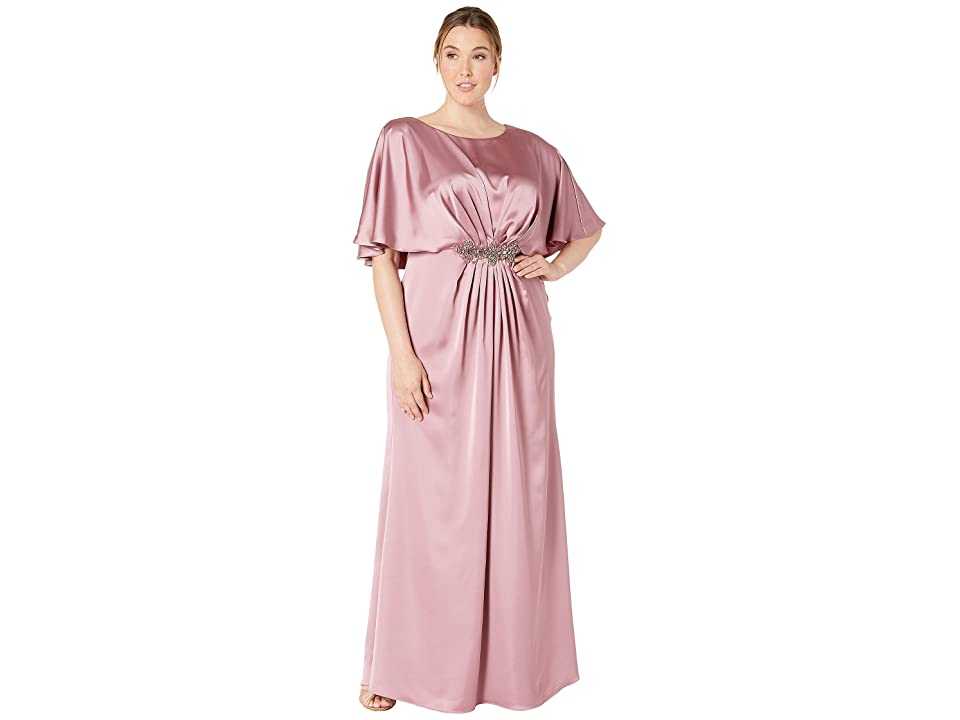 Adrianna Papell Plus Size Capelet Stretch Satin Gown with Beaded Trim (Rose) Women