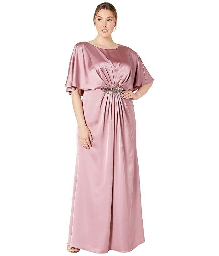 1920s Downton Abbey Dresses Adrianna Papell Plus Size Capelet Stretch Satin Gown with Beaded Trim Rose Womens Dress $155.40 AT vintagedancer.com