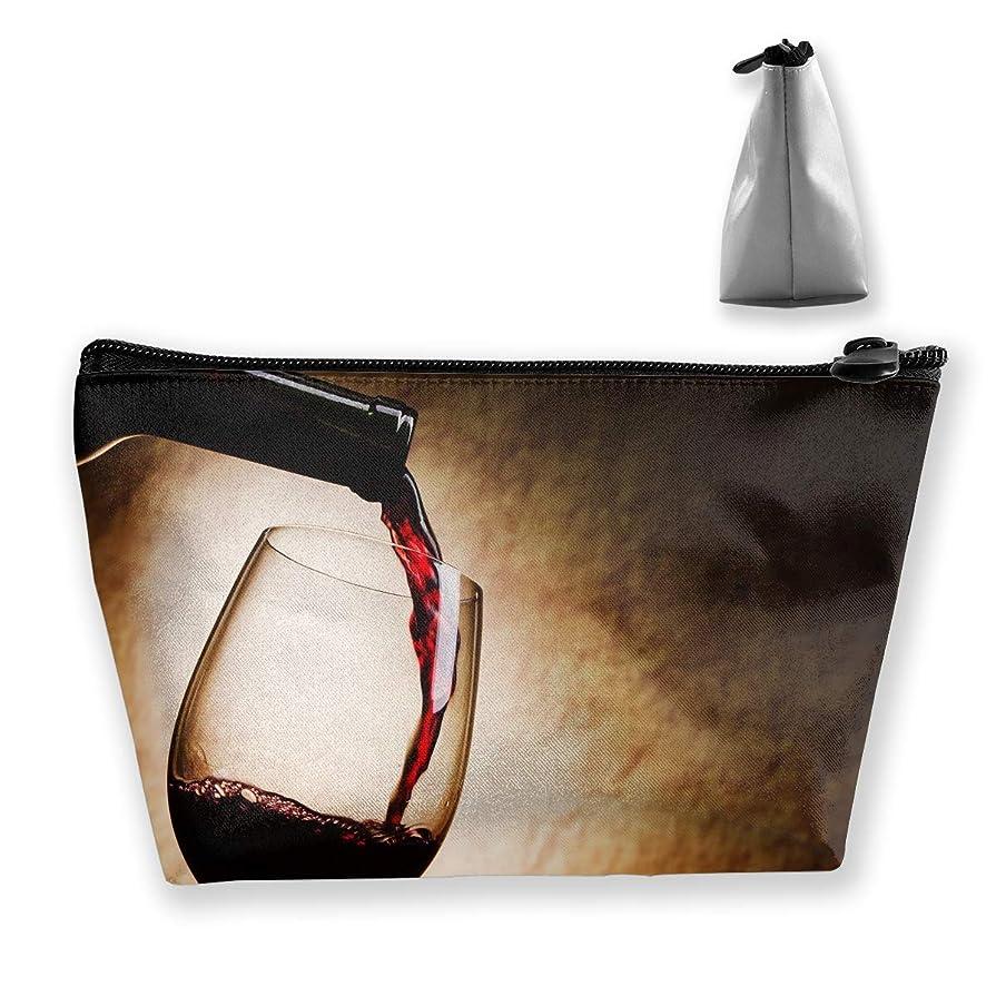 今までふさわしい送った台形 レディース 化粧ポーチ トラベルポーチ 旅行 ハンドバッグ レッドワイン コスメ メイクポーチ コイン 鍵 小物入れ 化粧品 収納ケース