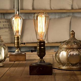 YUENSLIGHTING E27 Vintage Wood Blocks Table Lamp Desk Light for Cafe Bar Studio Night Light for Bedside Dimmable Without B...