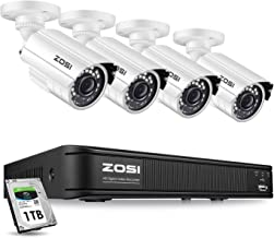 ZOSI 1080p Home Security Camera System Outdoor Indoor, Security DVR 8 Channel with Hard Drive 1TB and 4 x 1080p Surveillance Bullet Camera, Remote Access, Motion Detection