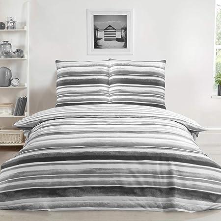 Sleepdown - Set copripiumino double-face, con motivo a righe acquerellabili, ultra morbido, facile da pulire, 135 x 200 cm, 1 federa da 80 x 80 cm