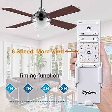 Ovlaim Wood Ceiling Fan With Lights,4 Wood Fan Blade Ceiling Fans 48 inch Noiseless Reversible Motor,DC Motor Indoor Ceiling