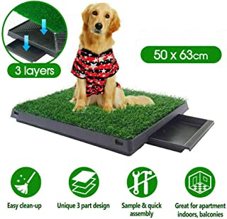 OZSTOCK Indoor Dog Pet Potty Training Portable Toilet Loo Pad Tray with Grass Mat (1Pet Potty+1 Grass Mat)