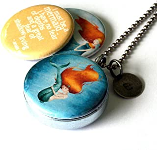 Mermaid Locket Necklace - 3 Magnetic Interchangeable Lids - Anais Nin Quote - I Must Be a Mermaid