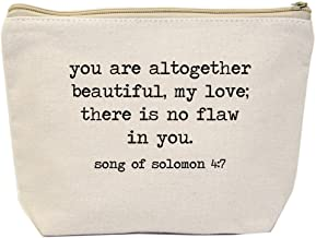 Jules Natural Canvas Tote Zipper Bag You Are All Together Beautiful, My Love; There Is No Flaw In You. Song of Solomon 4:7