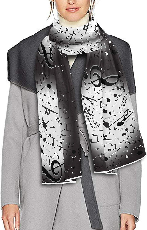 Scarf for Women and Men Black Music Notes Design Blanket Shawl Scarves Wraps Soft Winter Large Scarves Lightweight