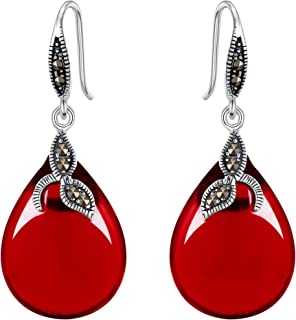 EVER FAITH 925 Sterling Silver Chalcedony Crystal Retro Black Leaf Teardrop Hook Earrings