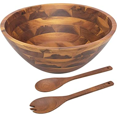 AIDEA Wooden Salad Bowl, 12.5Inch Acacia Wood with Salad Spoon and Fork