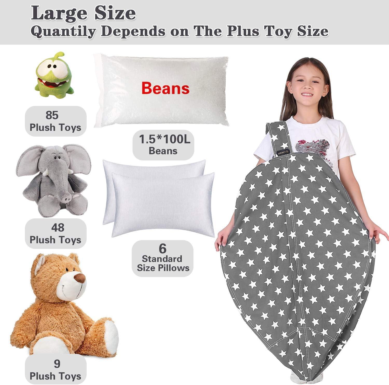 Large No Beans Stripe Bean Bag Chair Cover, Zipper Storage Bean Bag for Organizing Stuffed Animals Lukeight Stuffed Animal Storage Bean Bag Chair for Kids