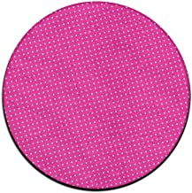 Round Area Rug Blue Spots Pink Dots Comfy Anti-skid Living Bedroom Rug Front Door Mat Inside Outside Mat Rug Pads