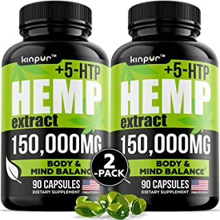 (2 Pack) Premium Hemp Oil Capsules for Discomfort Recovery with Omega 3, 6, 9 - Stress, Anxiety, Immunity Support - Natura...