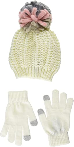 Chunky Pom Pom Hat with Etouch Glove Set