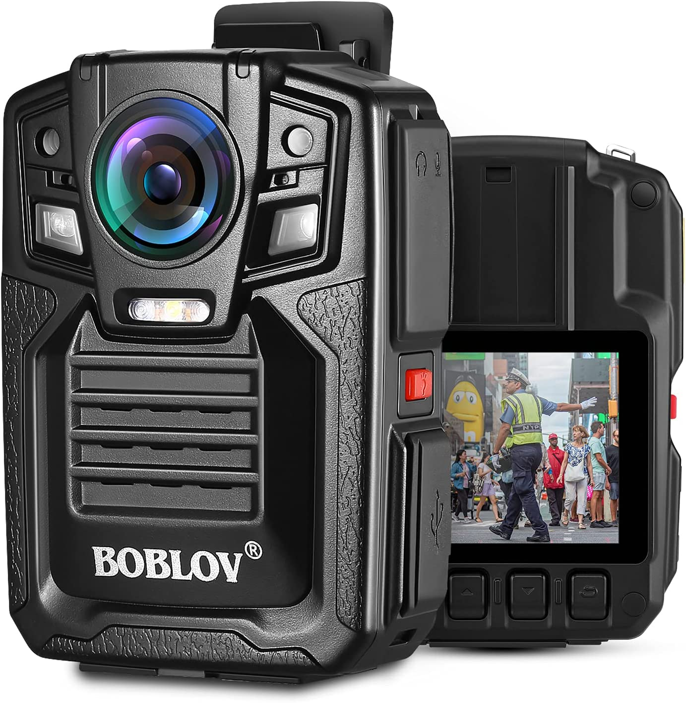 BOBLOV HD66-02 128GB/64GB Police Body Camera, 1296P Waterproof Police Body Camera with Audio, 2 Batteries and Charging Dock Station and 170° Wide Angle, Night Vision Body Camera (64GB)