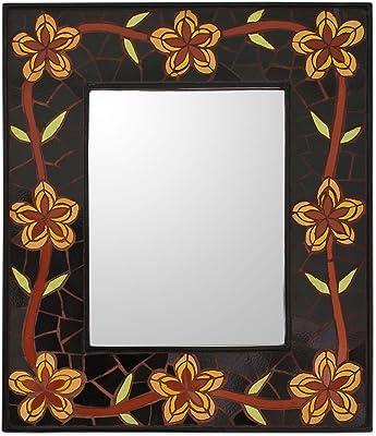 NOVICA Golden Cassia Blossoms Mirror