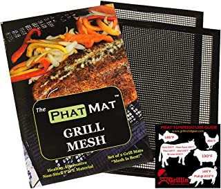 PhatMat Non Stick Grill Mesh Mats - Set of 2 - Nonstick Heavy Duty BBQ Grilling & Baking Accessories for Traeger, Rec Tec, Green Mountain, Smoker & Oven - 16 inches x 11 inches - Free Temp Guide