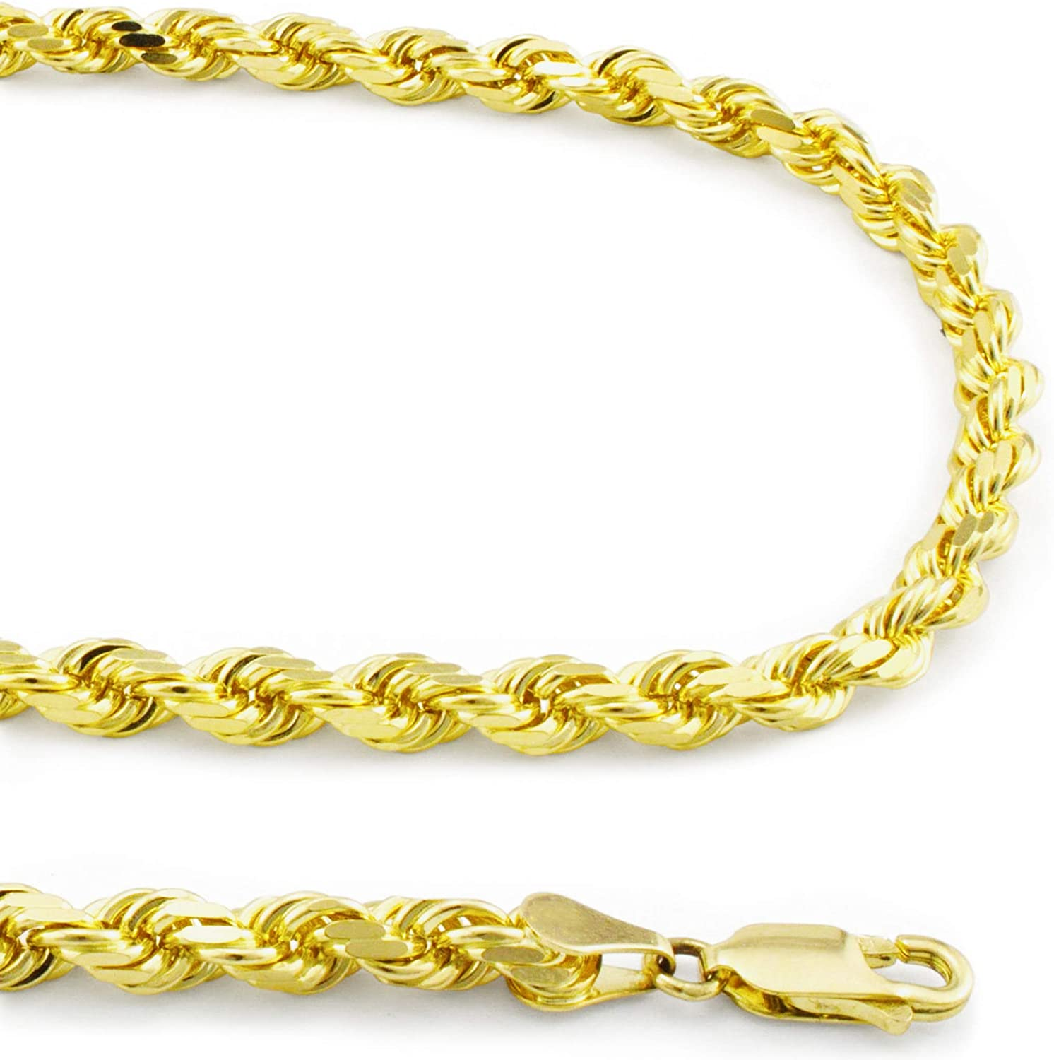 Nuragold 10k Yellow Gold 4mm Rope Chain Diamond Cut Pendant Necklace, Mens Womens Lobster Lock 20