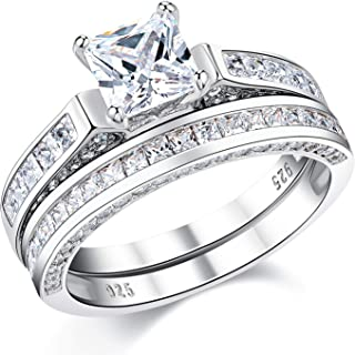 Wuziwen Wedding Rings for Women Cubic Zirconia Cz Sterling Silver Vintage Engagement Ring Bridal Set