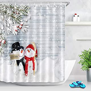 LB Modern Couple Snowman Shower Curtain,Hug A Letitsnow Placard in Snow Scene on Grey Wood Board Cool Bathroom Decor Waterproof Fabric 60x72 Inches
