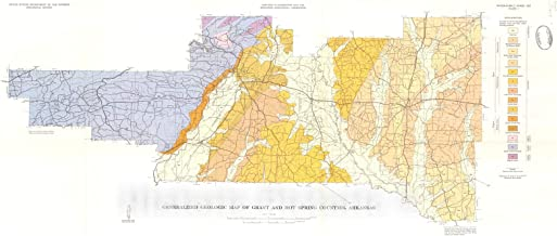 Historic Pictoric Map : Water Resources of Grant and Hot Spring Counties, Arkansas, 1968 Cartography Wall Art : 44in x 19in