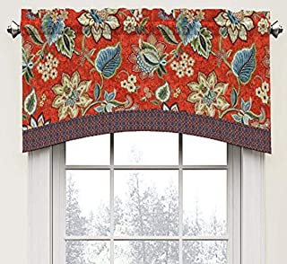 """WAVERLY Brighton Blossom Rod Pocket Curtains for Kitchen and Living Room, 52"""" x 18"""", Gem"""