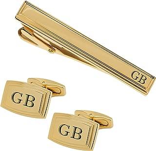 Personalized Gold Beveled Edge Cufflinks & Tie Clip Set Monogram Custom Engraved Free