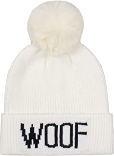 Hatphile Dog Lover Stretchy Woof Faux Fur Pompom Knit Beanie Skully Toque