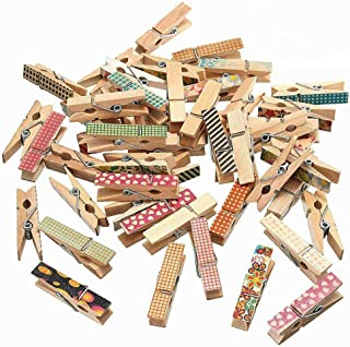 AKOAK 50 Pcs/Pack 3.5cm Colorful Design Cute Painted Wood Clips Mini Craft Pegs Cloth Photo Hanging Spring Clips Pinch