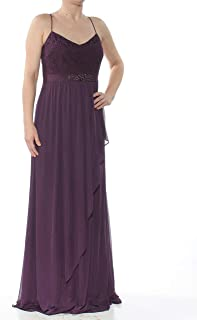 ADRIANNA PAPELL Womens Purple Embellished Lace Gown Spaghetti Strap V Neck Full Length Evening Dress US Size: 6