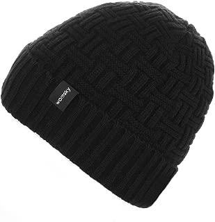 Wool Lined Beanie Hat Mens Winter Warm Knitting Hats Mens Winter Solid Color Warm Knit Ski Skull Cap