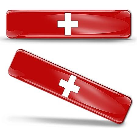 Biomar Labs 2 X Aufkleber 3d Gel Silikon Stickers Switzerland Flag Schweiz Swiss Flagge Fahne Autoaufkleber F 23 Auto
