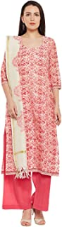 Women's Readymade Red Floral Chanderi Silk Indian/Pakistani Salwar Kameez Dupatta