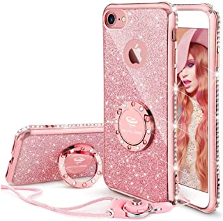 Cute iPhone 8 Case, Cute iPhone 7 Case, Glitter Luxury Bling Diamond Rhinestone Bumper with Ring Grip Kickstand Protective Thin Girly Pink iPhone 8 Case/iPhone 7 Case for Women Girl - Rose Gold Pink