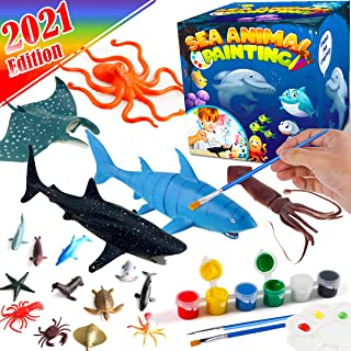 FunzBo Kids Crafts and Arts Set Painting Kit - Ocean Sea Animal Toys Art and Craft Supplies Party Favors for Boys Girls Ag...