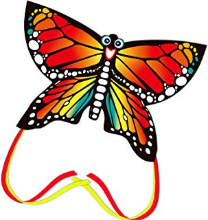 thecolorfullife Kites for Kids, Beautiful Butterfly Kite for Adults, Easy to Assemble and Fly, Beach and Outerdoor Games,Kite Handle Included (RED)
