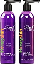 Purple Shampoo and Conditioner No Yellow Set - Organic Sulfate Free - Brassy, Silver and Color Treated Hair Moisturizer - Natural Aloe Vera and Coconut Oil - Blonde, Grey and Bleached Hair Toner (8oz)
