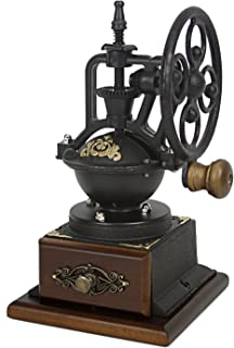 Evelyne GMT-10012 Burr Manual Coffee Grinder Coffee Bean Mill Vintage Antique Style Windmill Wheel Hand Crank Wooden Drawer