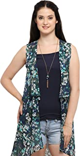Serein Women's Blue/Green Floral Chiffon Shrug/ Jacket_(XL)