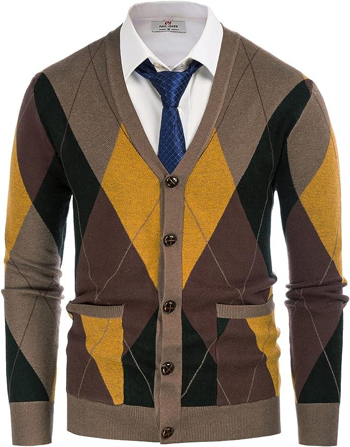 Men's Vintage Sweaters, Retro Jumpers 1920s to 1980s PJ PAUL JONES Mens V Neck Argyle Cardigan Sweater Contrast Knitwear with Pockets  AT vintagedancer.com